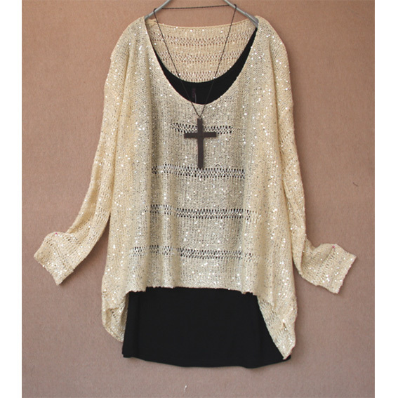 2013 Spring Cutout Paillette Batwing SleeveLloose Casual Sweater Top Fashion Women&#39;s Lady&#39;s(China (Mainland))