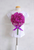 Sample retail Stereo flowers bow childrens clothing boy's girl's vest tops tees shirts 6 colors can choose free shipping