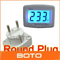 LCD AC Digital Voltage Voltmeter Household Factory 80-300V EURO 2 Round Plug Volt Power Monitor 110V 220V AC Panel Meter #200539
