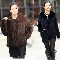 AUTUMN COAT FREE SHIPPING GENUINE REAL KNITTED MINK FUR SHORT JACKET Plus Size COAT NEW STYLE COFFEE LADY'S WARM WINTER