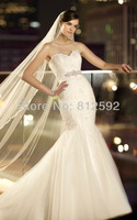 Free Shipping Elegant White/Ivory Sweetheart Tulle&Lace Beading Mermaid Wedding Dress/Bridal Gown Custom Size Wholesale/Retail