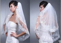 2013 white double layers wedding veil the bridal veil with comb lace promotion price wholesale/retail