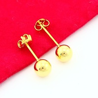 24K Stud Earrings - PBJE012 , Free shipping ,new arrival 2013 .24K earring ,24K Gold Plated Round stud earrings for wedding