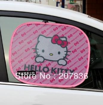 2013 NEW 2pcs/lots Lovely Summer hello kitty  Lovers Car Window Screen Sun Shade heat Block Window Foils Solar Protection