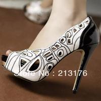 FREE SHIPPING! 2013 women's spring shoes princess high-heeled shoes platform thin heels white open toe single shoes