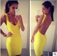Backless spaghetti strap HL bandage dress sexy night club wear open back ladies elastic yellow v neck party mini dress E HL1113
