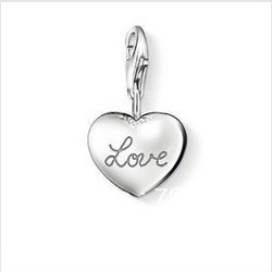 Wholesale 925 sterling silver jewelry / 925 silver love heart pendant charm / 925 silver charm Free Shipping TS330(China (Mainland))