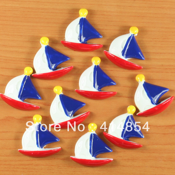 Wholesale 50pcs Sailboat US 4th of July American Patriotic Resin Flatbacks Flat Back Scrapbooking Hair Bow Center Crafts Making(China (Mainland))