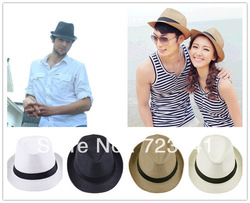2013 New Fashion Womens Mens Unisex Fedora Trilby Gangster Cap Summer Beach Sun Straw Panama Hat Couples Label Lovers Hat(China (Mainland))