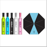 Red Wine Bottle Umbrella Creative Folding Bottle Umbrella Green Blue Black White Pink,Retail Box+Free Shipping+Drop shipping