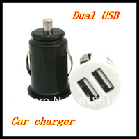 100pcs Wholesale High Quality Micro Bullet Dual USB Port Car Charger For Apple iPhone 3G 3GS 4G iPod IPad 2 3 S2 S3 Mini Adapter