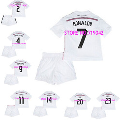 13 14 Real Madrid Soccer Jersey 7# Cristiano Ronaldo Kids Home White Football Jerseys + Short Kits Children Soccer Shirt Uniform(China (Mainland))