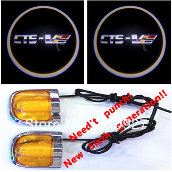 Sixth Generation 5W Car Led Door Light for Cadillac CTS Led Car Decoration Ghost Shadow Light lamp Welcoming lignt Free Shipping