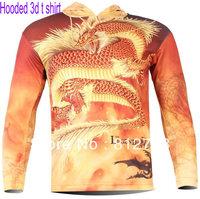 Free Shipping New Cool Men's Gold dragon 3D animal T Shirt #1137,Men Punk Three D Long Sleeve hooded Tee Shirt S-6XL,Plus Size