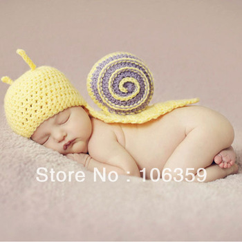 Retail Baby Infant Crochet Snail Hats Newborn Photography Beanies Children Animal Hats Caps with Cape Outfit SG017