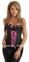 Top Fashion Pink String Trim Black Underwear Boned Bodysuit Sexy Corselet S,M,L,XL Free Shipping CL4054