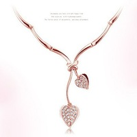 High Quality 18K GP Heart Leaf Necklace Bridal Women Fashion Jewelry 2013 3pcs/lot Free Shipping