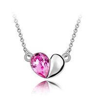 Free shipping Hot sales Fashion jewelry Peach heart crystal necklace 4376-45