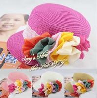 Baby Flower Cap Children Baseball Hat Girls Flatcap Kids Summer Straw Hat Sun Cap 10pcs Free Shipping