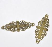 Free shipping-50Pcs Bronze Tone Filigree Flower Wraps Connectors Jewelry Findings Connectors 6.1x2.4cm M00591