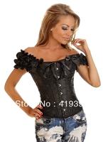 CL4049 Flower Neck Wholesale Retail Body Suit Seamless Off Shoulder Black Women Bustier Corset