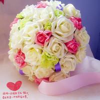 Wedding Bride Holding Flowers Artificial Bouquet Rose flower Ball