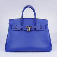 Free shipping  royal blue soft  oxhide origlnal leather gold/silver buckle 35 cm woman paris handbag real leather tote