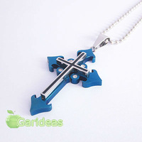 Free shipping +Wholesale  Fashion Silver&Blue Stainless Steel  Multi Cross  Charm Pendant Necklace New Gift Item ID:3022