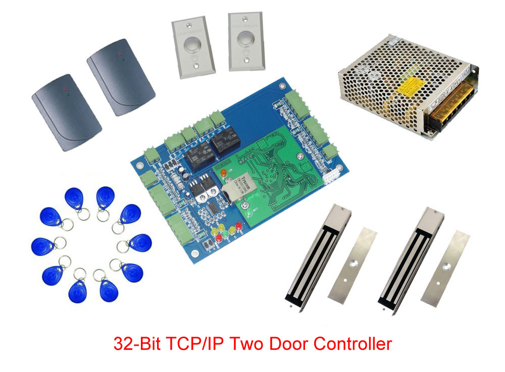 Free ship by DHL, access control kit,TCP two door access control+power+magnetic lock+reader+exit button+10 key fob,sn:kit-L11(China (Mainland))