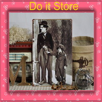 [ Do it ] Chaplin Laugh stars iron painting Wall decorative Laugh Making star metal painting 20*30 CM Free shipping