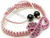 (Min.$10-can mix styles) 3 colors exposy pink breast cancer awareness ribbon sideways cord braided shamballa bracelet