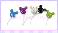 Fast  Free Shipping 100pcs 3.5mm Mickey Mouse Stereo Earphone Mickey Headphone for MP3 Mp4 9 Colors For Choose