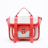 2014 canvas bag women's handbag color block one shoulder cross-body portable female bag