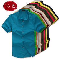 Summer all-match uyuk Men solid color shirt fashion candy color male casual short-sleeve shirt