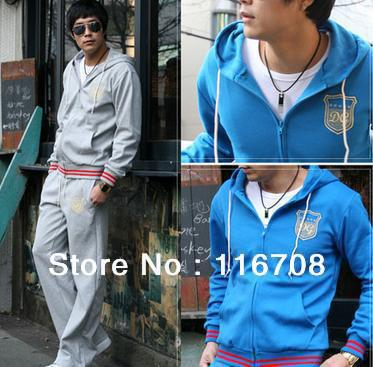 Free Shipping fashion sports wear for men gym suits cotton leisure tracksuit / sweatsuit hoodied sport suits M-XXXL SJ001(China (Mainland))