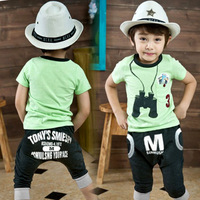 2013 summer boys clothing m letter child 100% cotton short-sleeve T-shirt capris twinset