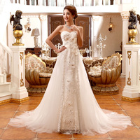 New arrival 2013 tube top bandage slim waist and fish tail wedding dress sweet short trailing the bride wedding dress