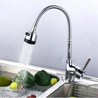Copper stainless steel kitchen faucet basin single hole hot and cold faucet