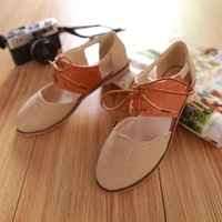 2013New Arrival Ladies 4Seasons Fashion personality preppy style flat round toe shoes sandals lacing oversized34-43free shipping