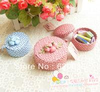 Free Shipping !Pink Rustic Flower Cloth  Sewing Kit Handmade Storage Box