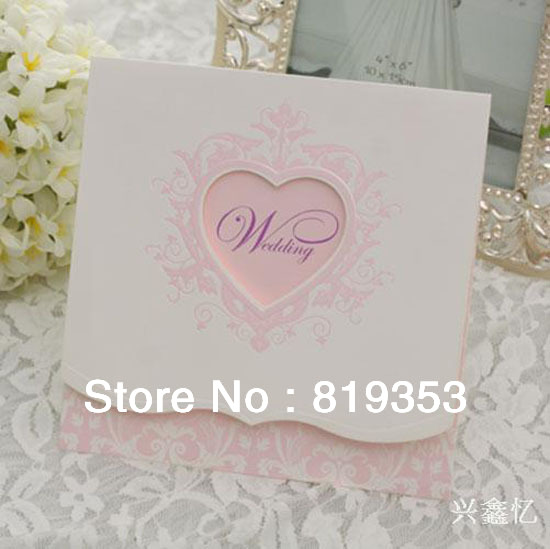 2013 Free Shipping Design Heart-shaped Pattern Wedding Invitations Cards(China (Mainland))