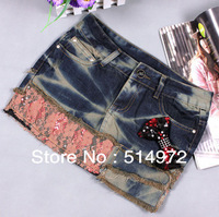 Best selling!!2013 new summer women bowknot skirt lace patchwork ladies denim skirt female slim cloth free shipping