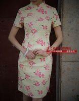 2015 Limited Freeshipping with Short Sleeves Chinese Dress New Arrival Flower Print Bamboo Hemp Fluid Linen Cheongsam -