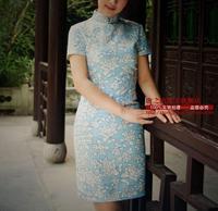 2015 Cheongsam Qipao Chinese Traditional Dress Spring And Summer New Arrival Vintage Flower Short Design Fluid Linen Cheongsam