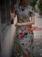 2015 Rushed Chinese Dress Vestido Chines Tradicional Big Ofnanyi New Arrival Vintage Flower Print Bamboo Hemp Linen Cheongsam -