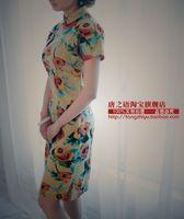 2015 Top Fashion Time-limited Chinese Dress Long Cheongsam Spring And Summer Flowers Vintage Fluid Design Linen Short Cheongsam