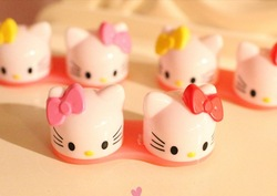 Free Shipping Cute Hello Kitty 3D Contact Lens Case Cartoon Glasses Box Retail(China (Mainland))