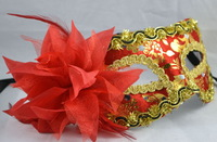 5pcs/lot free shipping wholesale masquerade masks venetian halloween pack cloth Wedding Bride side flower mask-RED