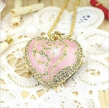 XC15 Free Shipping! Enough 2GB 4GB 8GB 16GB 32GB Crystal Metal Pink Rose Heart Necklace USB 2.0 Memory Flash Pen Drive+ Gift Box