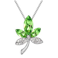 Free Shipping!!! Quality Women's Maple Leaf Style Olive Green Crystal Pendant Necklace Made With Swarovski Elements (6141)